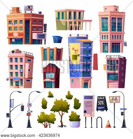Megapolis Streets And Buildings Elements, Isolated Apartments And Residential Houses. Road Signs And