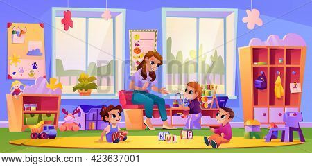 Kids Listening To Teacher At Kindergarten Playground. Woman Teaching Children By Playing Games. Deve