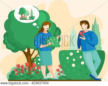 People Gardener Farmer Work In Garden. Couple Gardening, Woman And Man Farmers Agricultural Workers