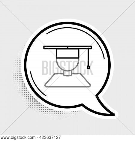 Line Graduate And Graduation Cap Icon Isolated On Grey Background. Colorful Outline Concept. Vector