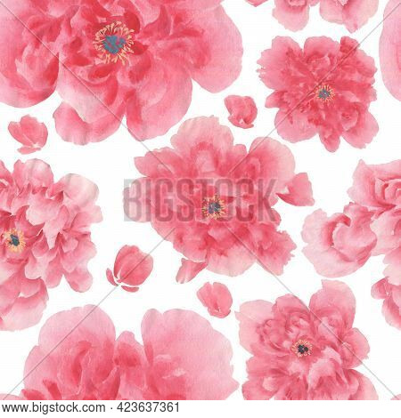 Seamless Floral Pattern With Peonies.  Watercolor Illustration  For Creating Fabrics, Textile, Decou