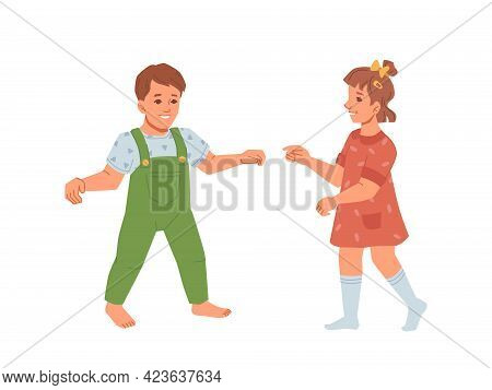 Baby Boy And Girl Learning To Walk, Development And Growth Of Kids. Toddlers Wearing Summer Clothes