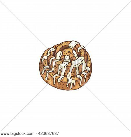 Cinnamon Roll Or Bun With Sugar Icing Engraving Vector Illustration Isolated.