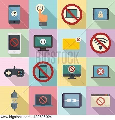 Digital Detoxing Icons Set. Flat Set Of Digital Detoxing Vector Icons For Web Design