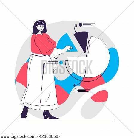 Data Analysis Web Concept. Woman Presenting And Analyzing Diagram. Business Analytics People Scene.
