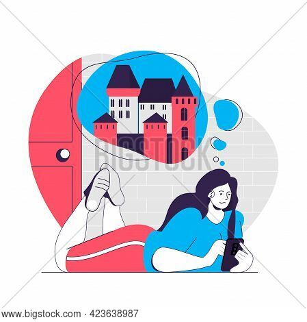 Dreaming People Web Concept. Woman Thinking Historical Castles And Travel. Imagination People Scene.