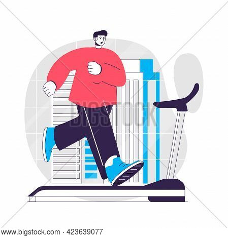 Fitness Web Concept. Man Running On A Treadmill, Cardio Training. Sport Exercising At Gym People Sce