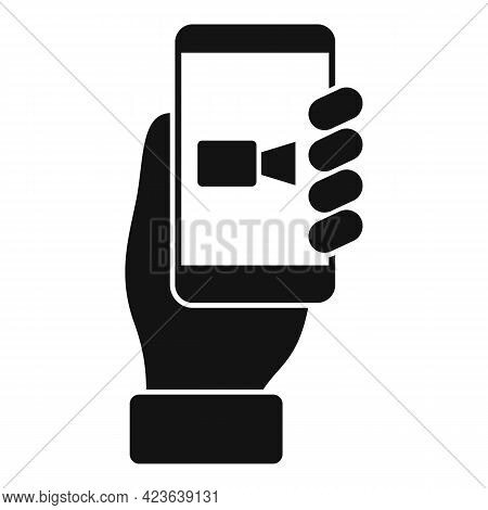 Smartphone Online Meeting Icon. Simple Illustration Of Smartphone Online Meeting Vector Icon For Web