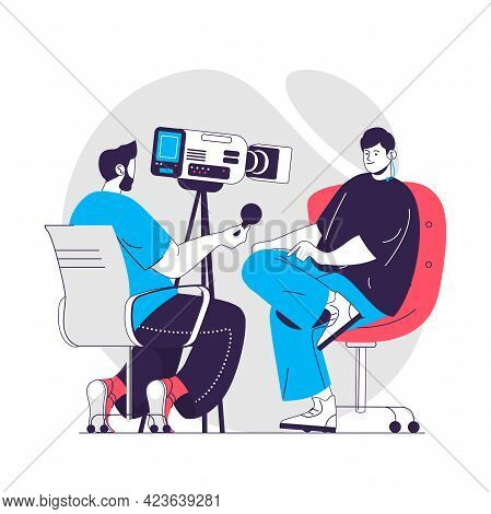 Journalism Web Concept. Operator Recording Reportage Or Tv Show Of Journalist. Mass Media People Sce