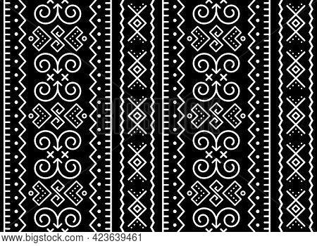 Slovak Tribal Folk Art Vector Vectical Seamless Geometric Pattern, Retro Decor Inspired By Tradition