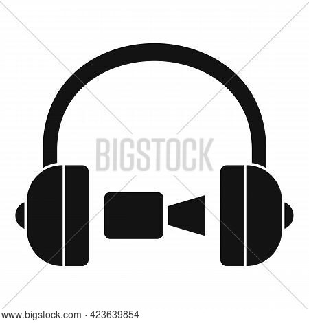 Headphones Online Meeting Icon. Simple Illustration Of Headphones Online Meeting Vector Icon For Web