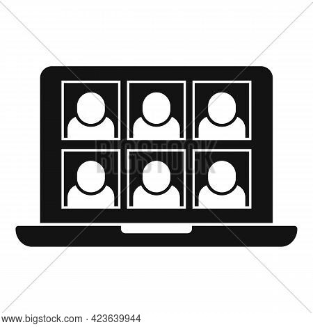 Friends Group Online Meeting Icon. Simple Illustration Of Friends Group Online Meeting Vector Icon F