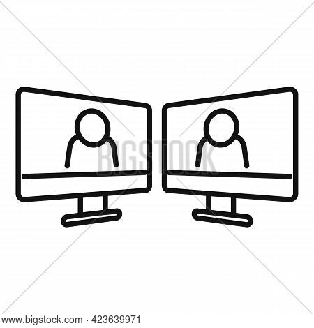 Online Meeting Icon. Outline Online Meeting Vector Icon For Web Design Isolated On White Background