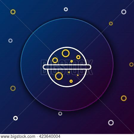 Line Planet Venus Icon Isolated On Blue Background. Colorful Outline Concept. Vector