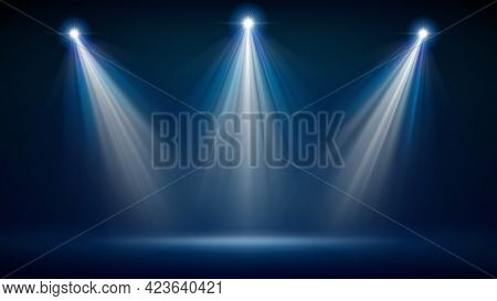 Spotlight Backdrop. Illuminated Blue Stage. Background For Displaying Products. Bright Beams Of Spot