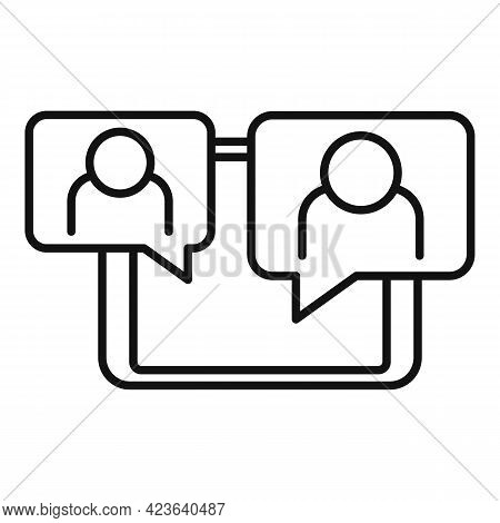 Tablet Online Meeting Icon. Outline Tablet Online Meeting Vector Icon For Web Design Isolated On Whi
