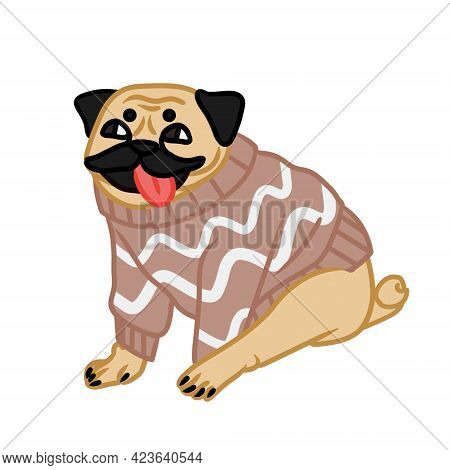 Adorable Pug In Sweater Is Sitting. The Image Is Isolated On White Background. Design Element. Vecto