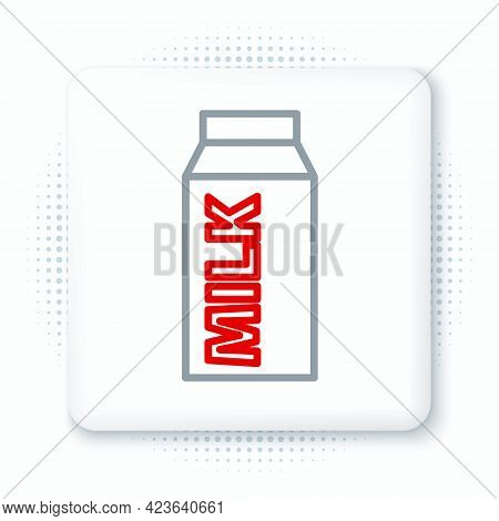 Line Paper Package For Milk Icon Isolated On White Background. Milk Packet Sign. Colorful Outline Co