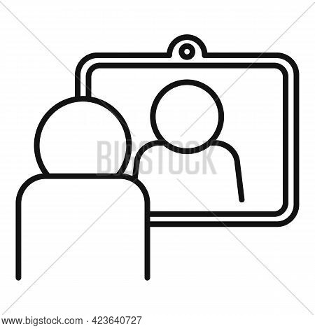 Social Online Meeting Icon. Outline Social Online Meeting Vector Icon For Web Design Isolated On Whi