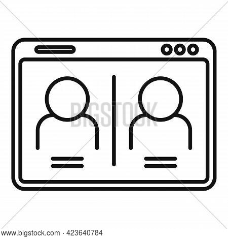 Chat Online Meeting Icon. Outline Chat Online Meeting Vector Icon For Web Design Isolated On White B