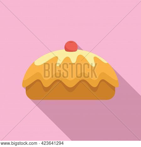 Cherry Cake Icon. Flat Illustration Of Cherry Cake Vector Icon For Web Design
