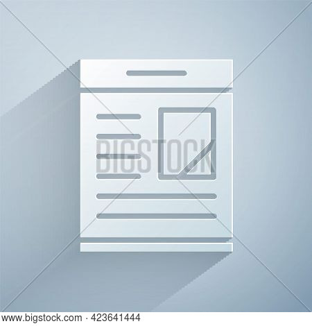 Paper Cut Newspaper Advertisement Displaying Obituaries Icon Isolated On Grey Background. Paper Art