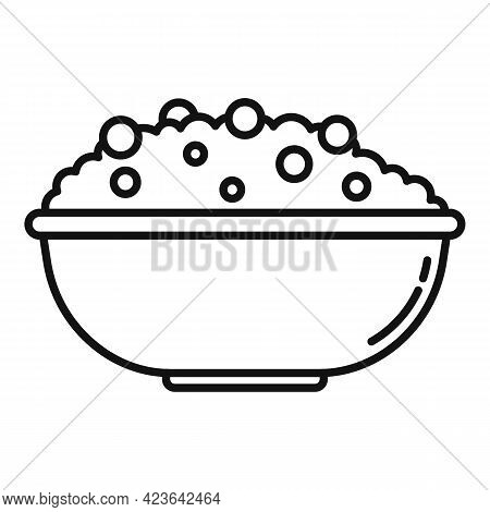 Rise Bowl Icon. Outline Rise Bowl Vector Icon For Web Design Isolated On White Background