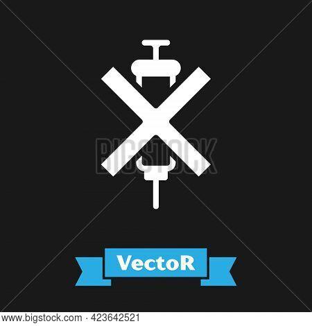 White No Doping Syringe Icon Isolated On Black Background. Vector