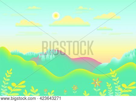 Hills, Mountains Landscape In Flat Style Design. Beautiful Field, Meadow, Sky, Cloud And Sun. Rural