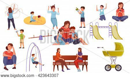 Motherhood Flat Set Of Woman Characters Walking With Child Playing And Reading Book Isolated Vector