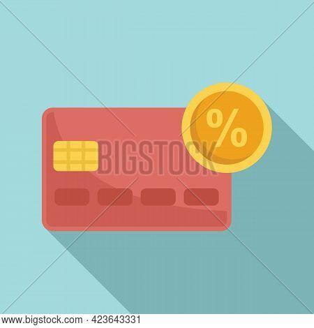Credit Card Percent Bonus Icon. Flat Illustration Of Credit Card Percent Bonus Vector Icon For Web D
