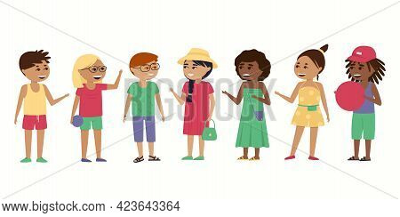 Children, Boys And Girls Of Different Nationalities On A White Background. African Americans, Asians