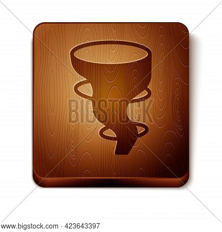 Brown Tornado Icon Isolated On White Background. Wooden Square Button. Vector