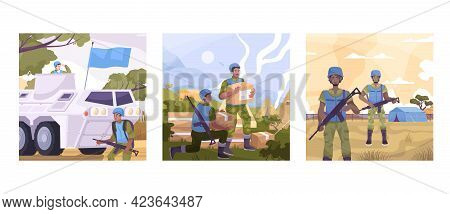 Peacekeepers Colored Flat Icon Set With Food And Security For Civilians Military Vehicles Vector Ill