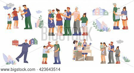 Family Set Of Flat Isolated Compositions With Family Members Spending Time Together Buying House Rec