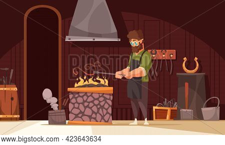 Blacksmith Heating Up Ornamental Iron Curved Piece In Coal Forge Fire In His Workshop Cartoon Vector