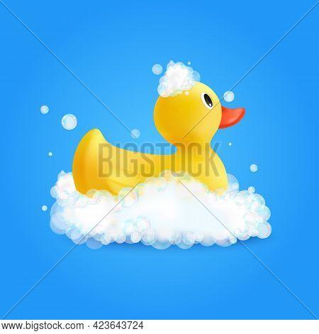 Bath Wash Design Concept With Bathroom Duckling Symbols Realistic Vector Illustration