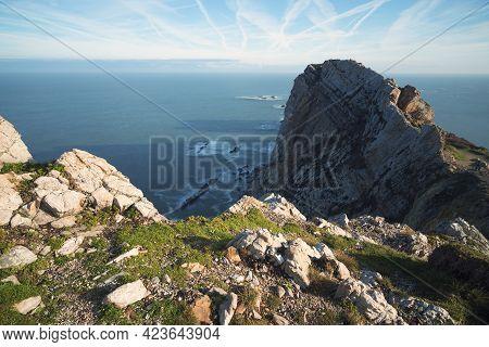Peñas Cape Cliffs At Sunrise In Asturias, North Of Spain