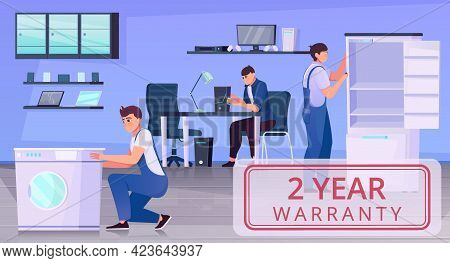 Warranty Repair Card With An Image Of The Office And Repairers Flat Vector Illustration