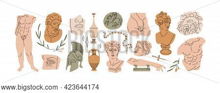 Set Of Abstract Ancient Greek Classic Statues And Sculptures, Drawn In Modern Style. Design Elements