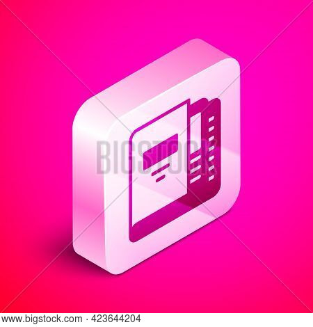 Isometric Office Folders With Papers And Documents Icon Isolated On Pink Background. Office Binders.