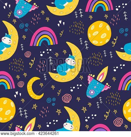 Seamless Pattern With A Small Hippopotamus. Vector Illustration  With A Hippo Sleeping On The Moon.