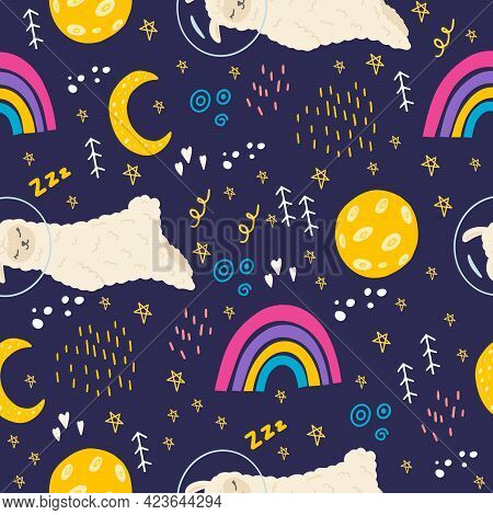 Seamless Pattern With Lama, Rainbow, Moon, Stars, Space. Cute Llama In A Space Suit In Space. A Patt