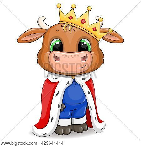 Cute Cartoon Bull King With Crown And Royal Robe. Vector Animal Illustration Isolated On White.