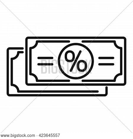 Sale Bonus Cash Icon. Outline Sale Bonus Cash Vector Icon For Web Design Isolated On White Backgroun