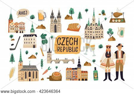 Set Of Landmarks, Buildings, Food And Drinks Of Czech Republic. Old Architecture, Famous Palaces, Ch