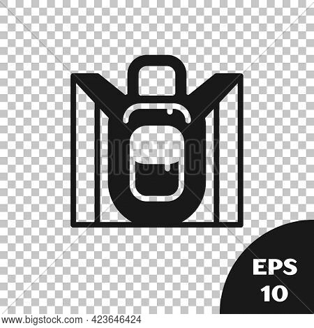 Black Hiking Backpack Icon Isolated On Transparent Background. Camping And Mountain Exploring Backpa
