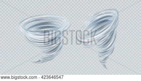 Realistic Vector Tornado Swirl Isolated On Gray Background. Real Transparency Effect. Vector Illustr