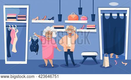 Elderly People Enjoying Shopping Funny Cartoon Composition With Old Couple Choosing Trendy Sexy Swim
