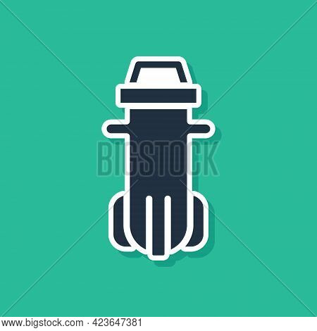 Blue Water Filter Icon Isolated On Green Background. System For Filtration Of Water. Reverse Osmosis